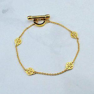 Tory Burch Logo Buckle Gold Bracelet